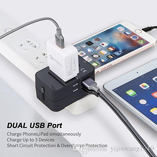 Seyahat Adaptörü, Çift USB Şarj Limanları Tek Evrensel Seyahat Adaptörü Duvar AC Güç Priz Adaptörü Duvar Şarj Worldwide Tüm