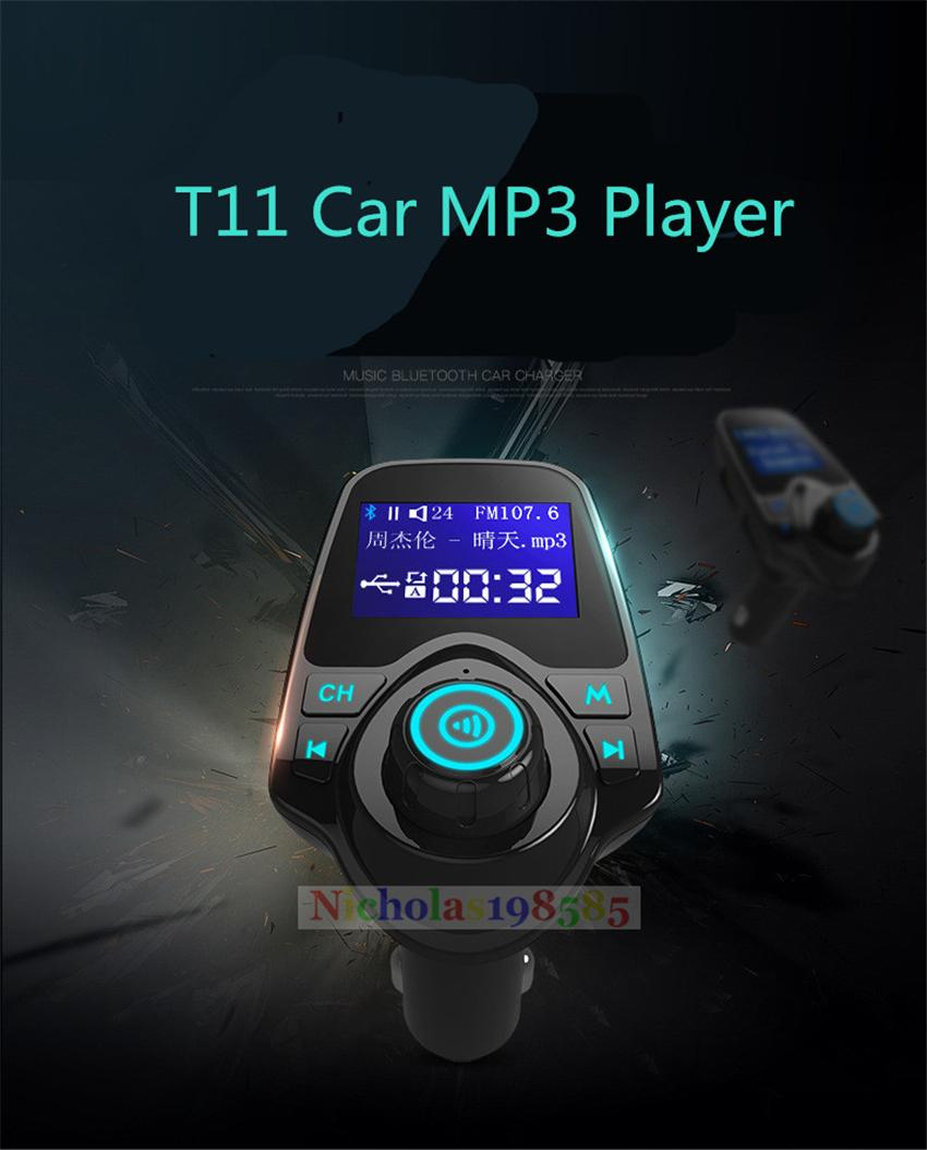 T11 Bluetooth Hands-free Car Kit With USB Port Charger And FM Transmitter Support TF Card MP3 Music Player Also BC06 BC09 T10 X5 G7 Car Kit