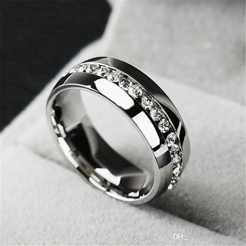 Womens Mens Gold Silver Rings Fashion Crystal Stainless Steel ...