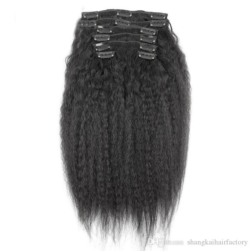 HL Brazilian Clip in Human Hair Extensions Kinky Straight Clip ins for African American 100%Real Hair Clip in Extensions