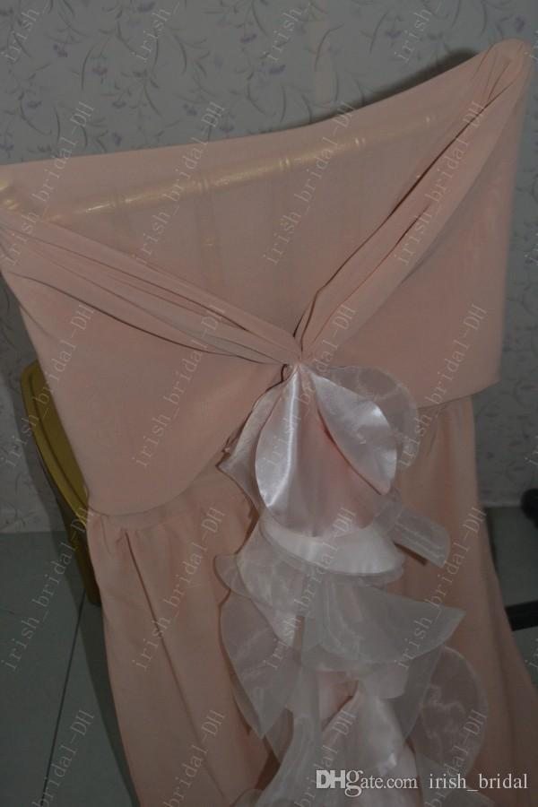 2016 Custom Made Blush Chiffon Chair Covers Romantic Beautiful Ruffles Chair Sashes Cheap Wedding Chair Decorations 03