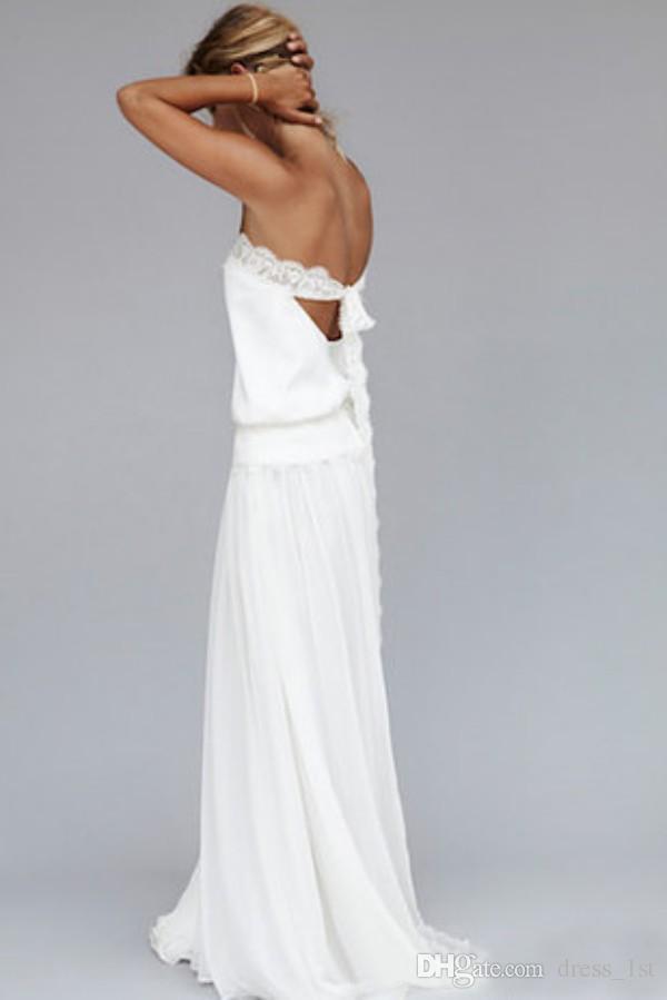 Robes de mariée de plage 2016 Vintage en mousseline de soie sans bretelles en dentelle à ruban taille sans dossier Long Boho robes de mariée des années 1920 sur mesure EN4151