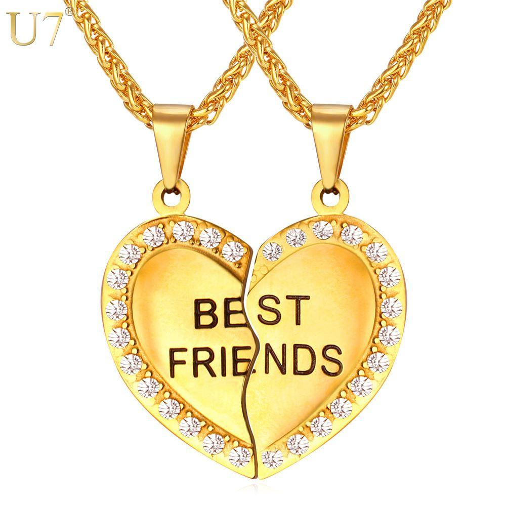 unique New Couple Pendant Forever Best Friend Heart Necklace Gold Plated Stainless Jewelry Necklace Girlfriend Brother Necklace P821