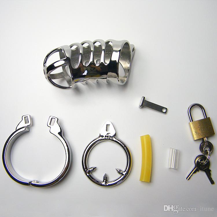Jaula de acero inoxidable con anillo de dientes dispositivo de castidad pene jaula de gallo con anillo de presión y candado Juguetes sexuales para hombres bondage 948 más
