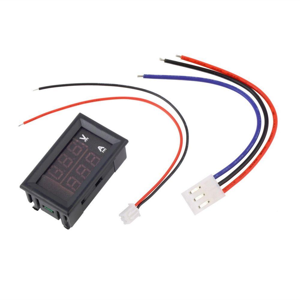 Auto DC 0V-100V 10A Voltmetro Amperometro Blu + Rosso LED Amp Doppio display digitale Volt Meter Indicatore Tensione Ampe all'ingrosso