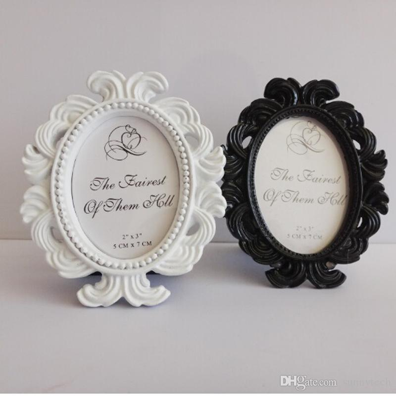 White/Black Oval Baroque Place Card Holder Resin Photo Frame Wedding ...