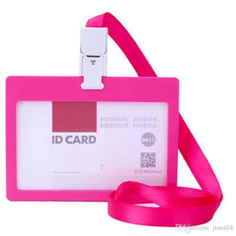 10 Unids / lote Business ID Badge Card Holder Horizontal Card Storage Para empresa oficina de la escuela uso de la exposición con Lanyard
