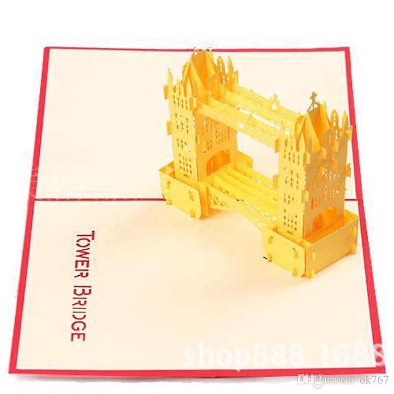 2017 novos Cartões de 10 pçs / lote Convites de Casamento 3D Cartão Cubic Thames Bridge Cartões frete grátis