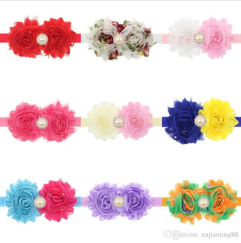 Sale Pearl Handmade Infant Baby Headbands Bow Flower Girl Hairband Headwear Kids Photography Props NewBorn Baby Hair bands Accessories