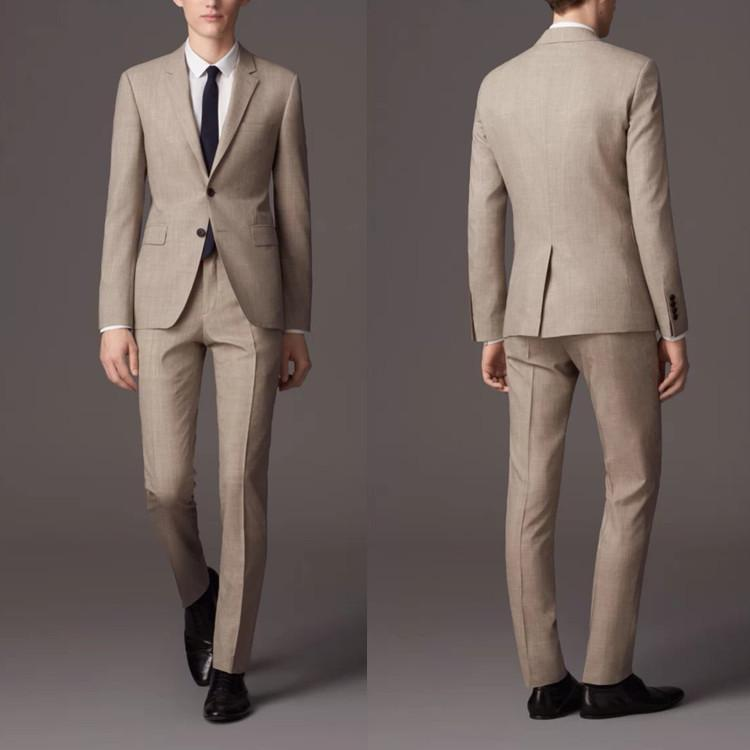 New Back Vent Khaki Groom Tuxedos Notched Lapel Slim Fit Best ...