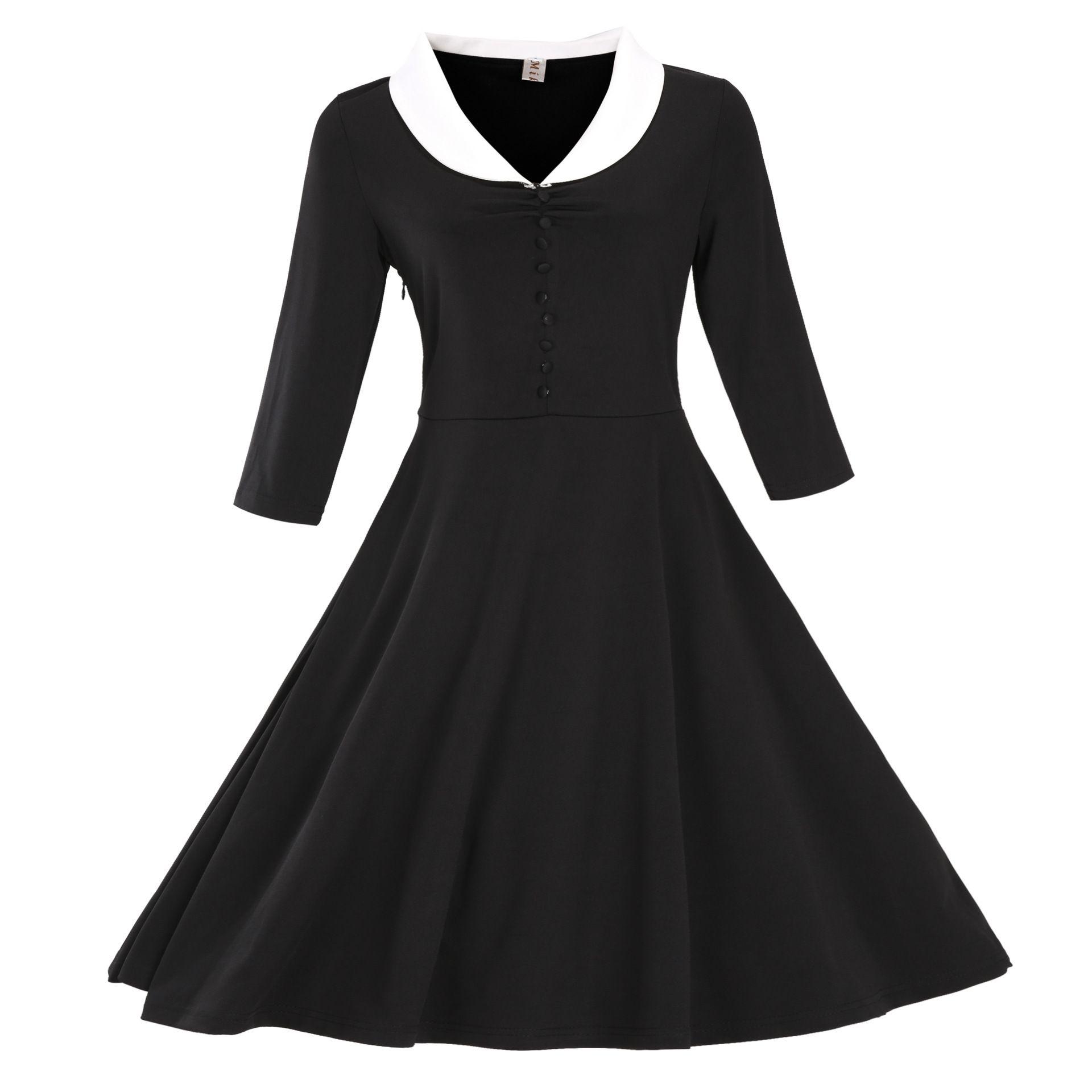 Acheter New Vintage Black Manches Longues Casual Robes Automne Hiver S 3xl Robe Pas Cher Mode Robes Rockabilly Livraison Gratuite Mc0898 De 21 55 Du Earlybirdno1 Dhgate Com