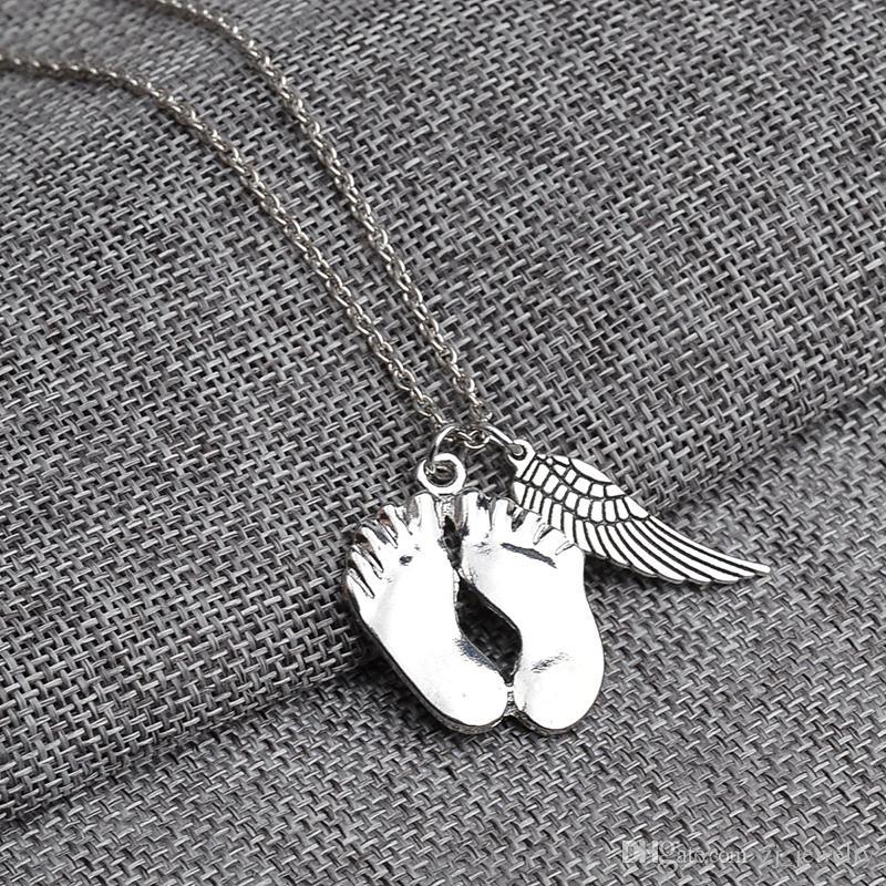 Sevimli küçük ayaklar açı kanat çift Kolye kolye 925 ayar gümüş Aşk bebek Kolye çocuğunuz için en iyi chrismas hediye 7