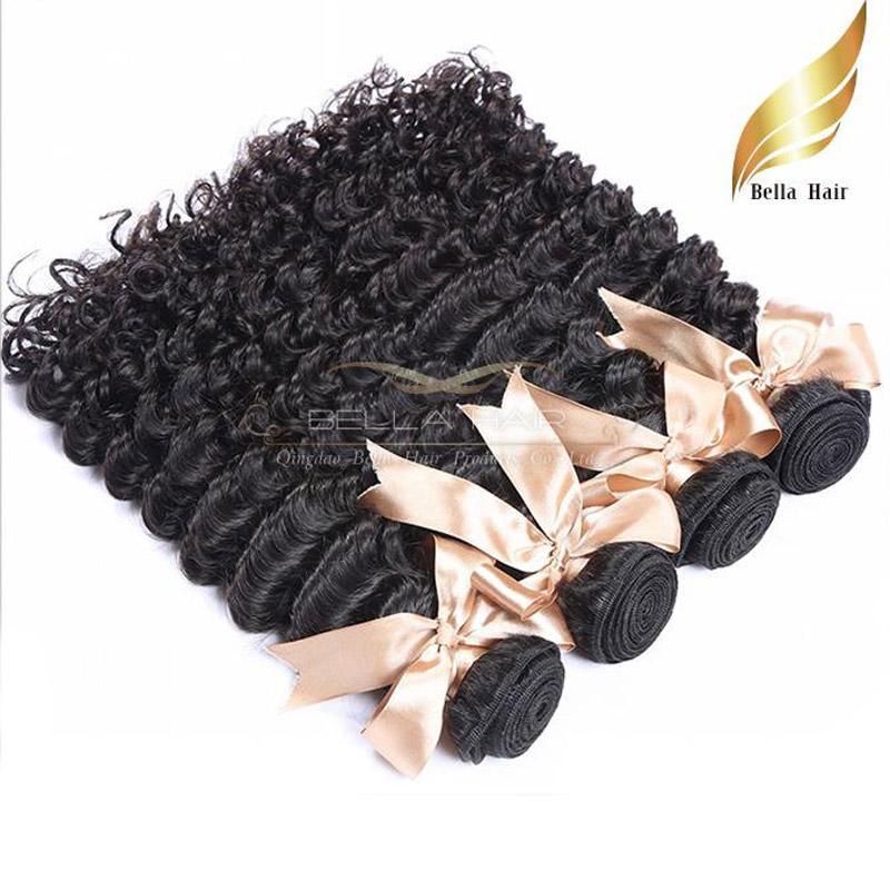 Девы человеческие пакеты волос бразильские наращивания волос глубоковолновые волосы Weaves 4 шт. / Лот Натуральный цвет Bellalhair DHL падение
