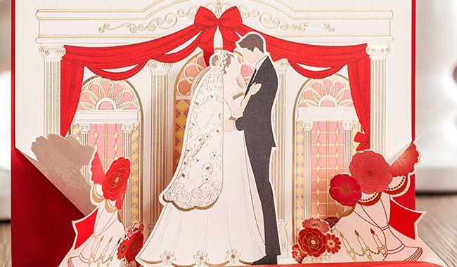 pop up groom weddig invitation card wedding day card