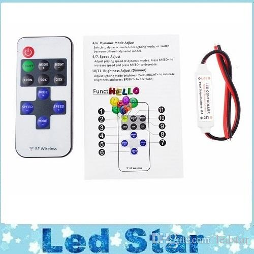 Delicate Single Color Remote Control Dimmer DC 12V 11keys Mini Wireless RF LED Controller for led Strip light