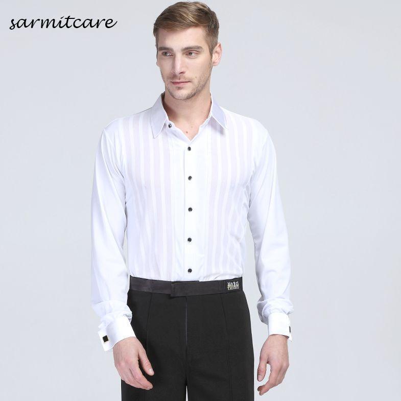 8f6c64fda D090 - Hombre blanco con cuello en V manga larga traje de baile latino para  hombres trajes de baile de samba Tango traje de samba ropa de baile ...