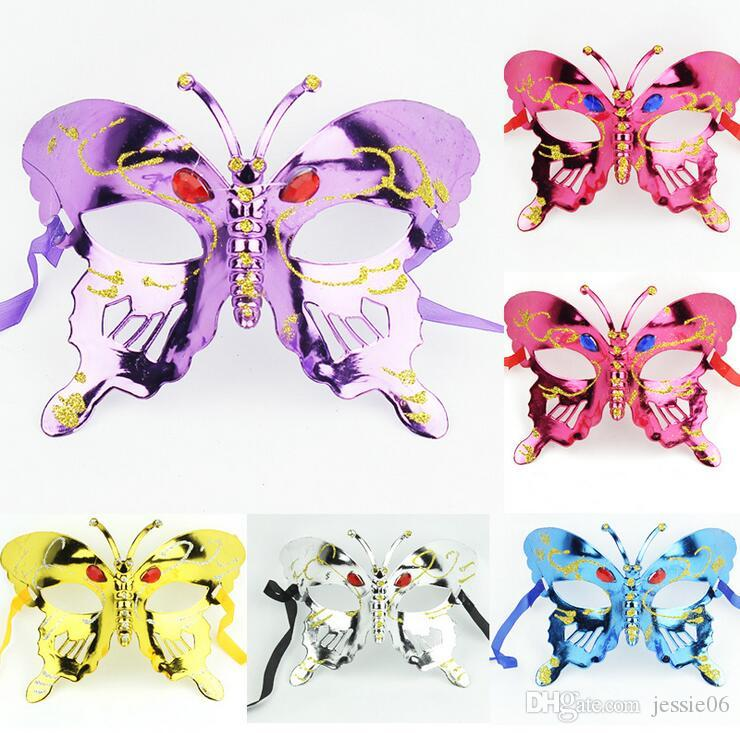 2016 NEW Halloween mask children masquerade mask coloured drawing or pattern plating butterfly princess coloured DHL FREE