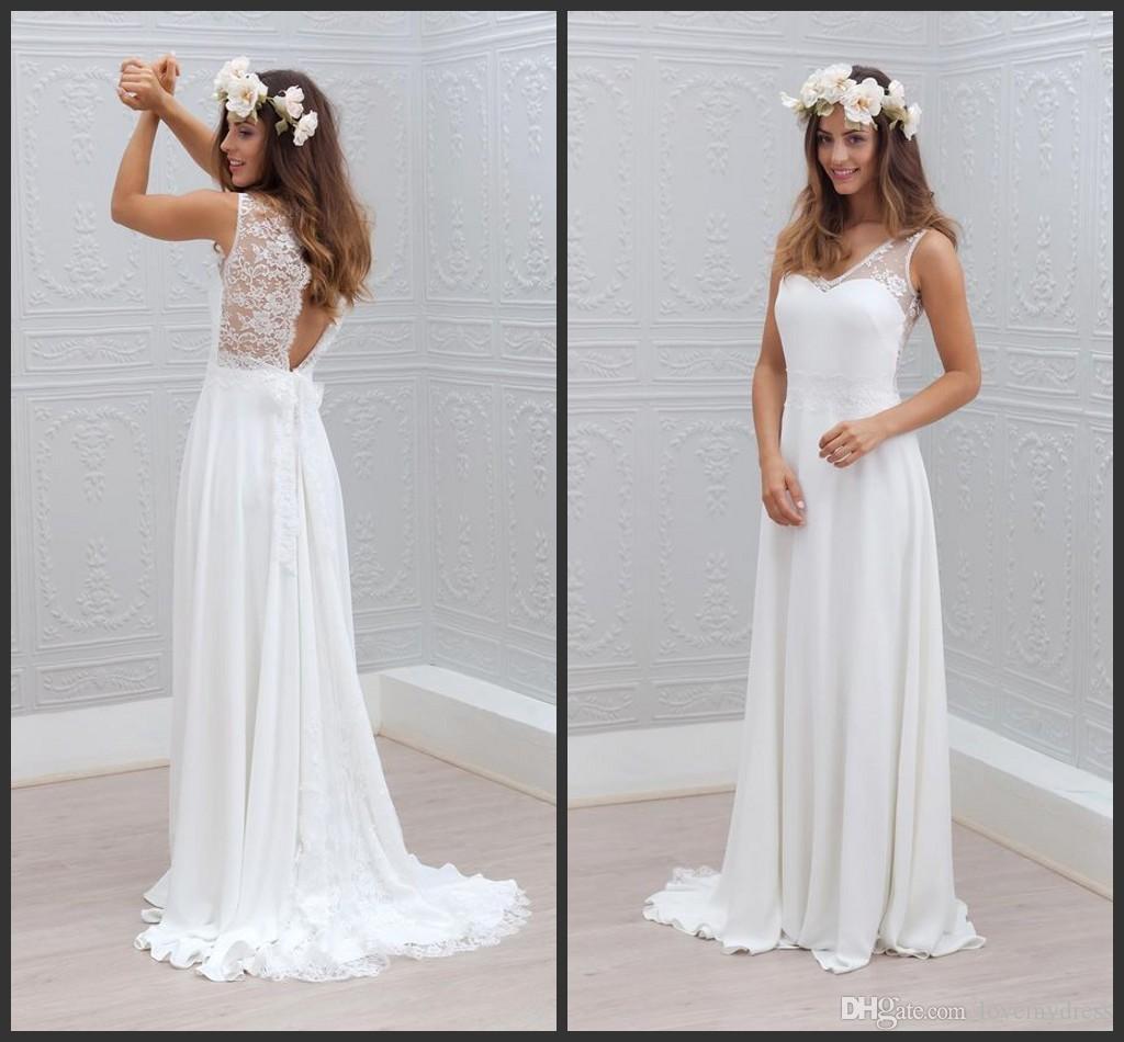 Großhandel Brautkleid Backless Langes Chiffon Kleid Elegantes Garten ...