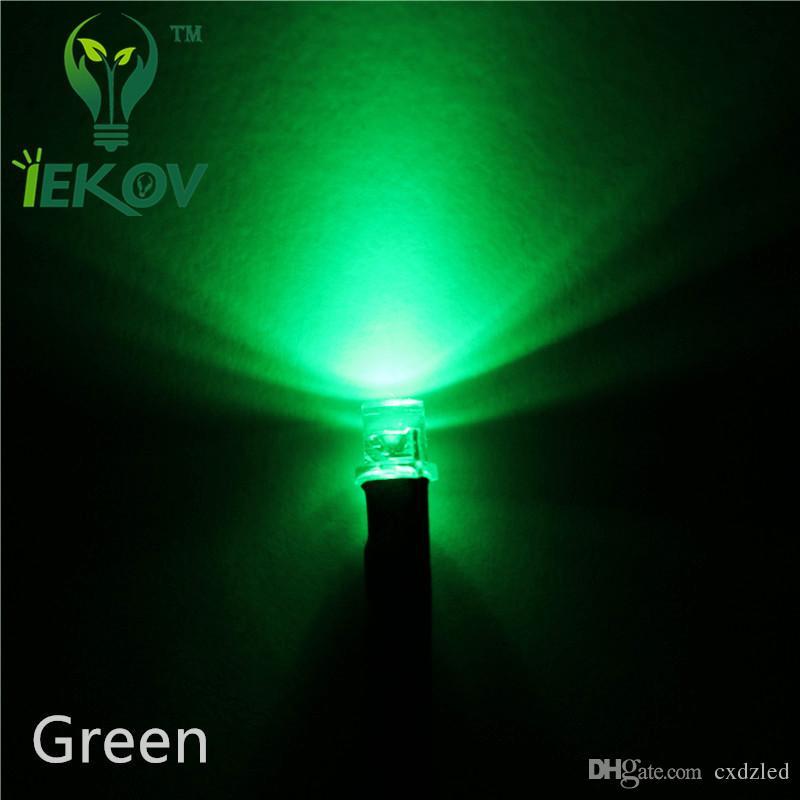 1000 unids 3mm LED Pre-Cableado Resistor 12V DC 20 cm Plano superior Verde Gran Angular Pre cableado Bombilla de Luz Diodos Emisores para coche de juguete DIY
