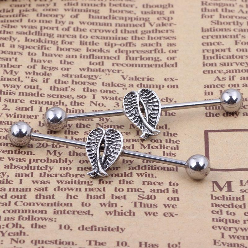 wholesales High Quality Stainless Steel Wing Earring Industrial Barbell body Piercing Jewelry Ear Tongue Jewelry