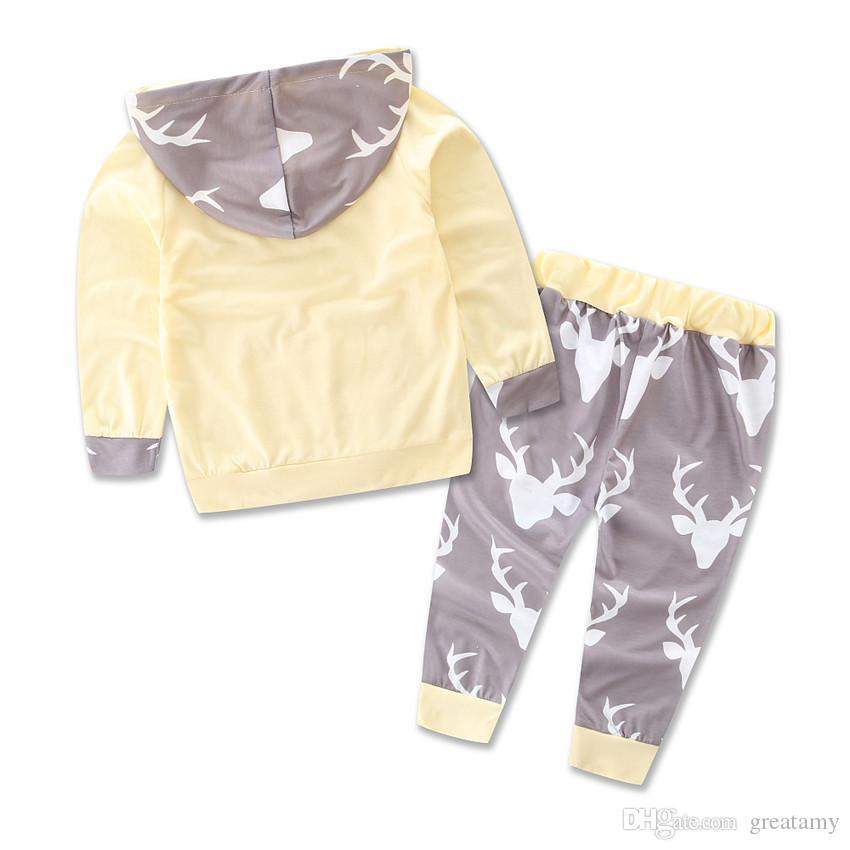 Heiße Art Herbst Strampler Säuglingskleidung Für Baby Hirsch Druck Overall 2 Stücke Set Kleinkind Beiläufige mit Kapuze Kleidung Anzug