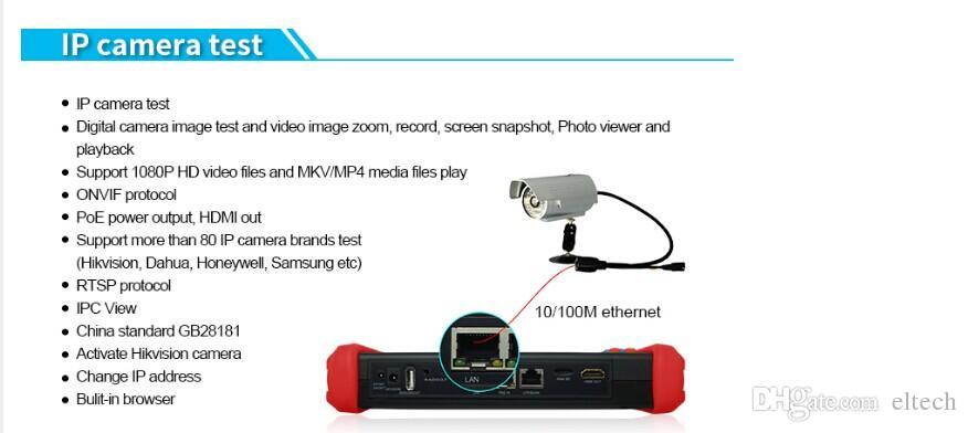 7 pouces CCTV Testeur Moniteur IP testeur caméra analogique WIFI ONVIF PTZ IPC9800 DHL Livraison gratuite, support HD-CVI, HD-TVI, AHD, IPC, CVBS, SDI.