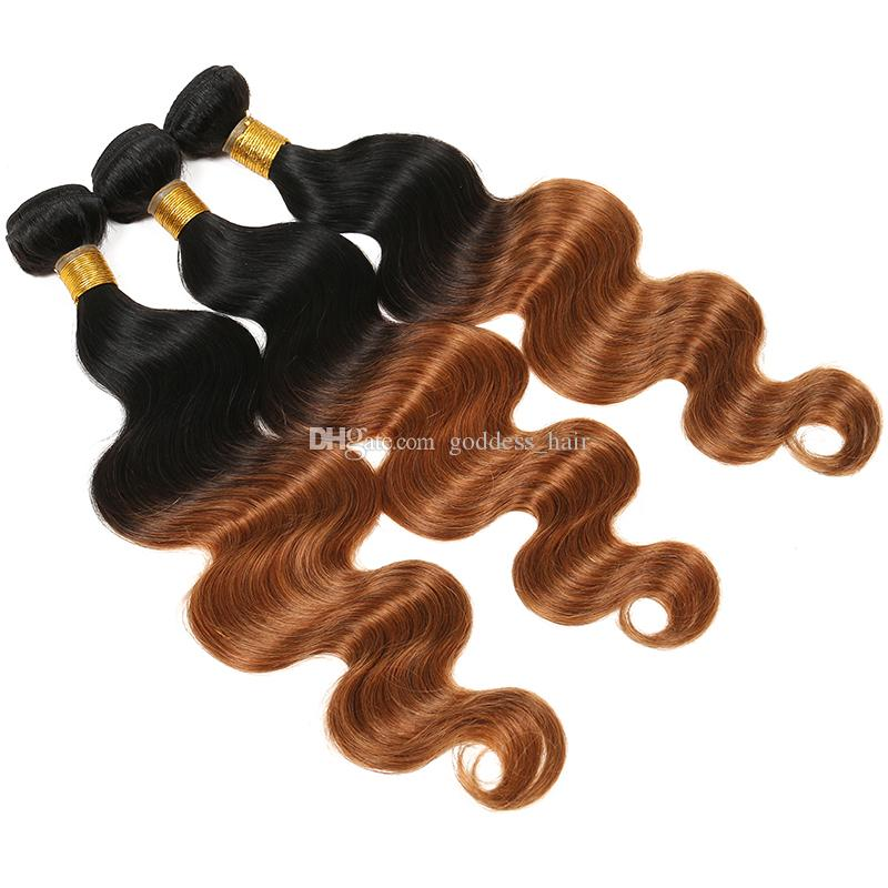 Перуанский Ombre цвет волос ткет 3 пучка волна тела 2 тон цвет 1b #30 человеческих волос расширение для черной женщины