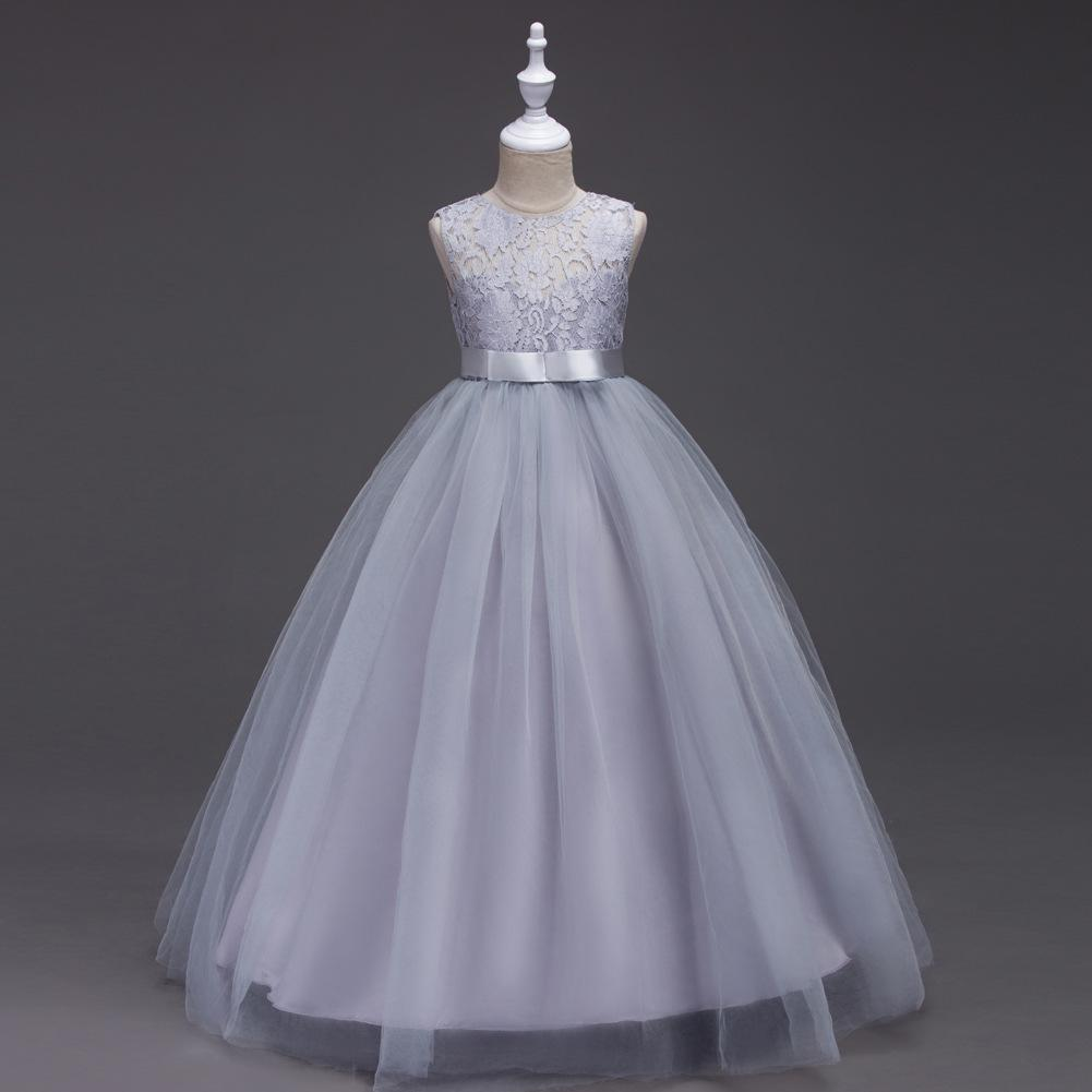 Cheap Flower Girl Dresses 2017 New Princess A Line Lace Tulle Long Formal Wear Gowns with Sash Girl First Communion Dresses