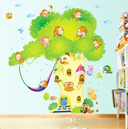 Cute cartoon wallpaper children bedroom decorative stickers Kindergarten classrooms waterproof PVC wall stickers can be removed