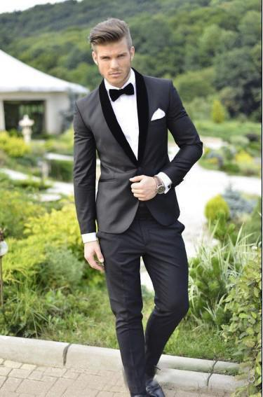 2016 Custom Made Groom Tuxedos Charcoal Grey Best man Shawl Black Collar Groomsman Men Wedding Suits Bridegroom Jacket+Pants+Tie-y035