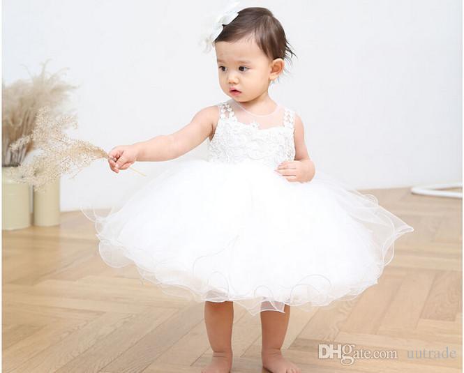 Vendita al dettaglio 2 pz / set Neonato 2016 nobile Bambino Battesimo Vestito bambini ragazza Battesimo Festa delle ragazze infantile Principessa autunno abito da sposa bambini vestito