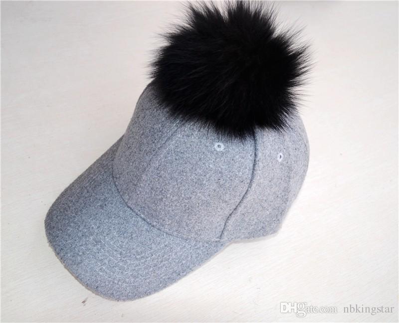 Cotton baseball cap with Single Pom Pom fox fur hats unisex adjustable snapback hat caps newest