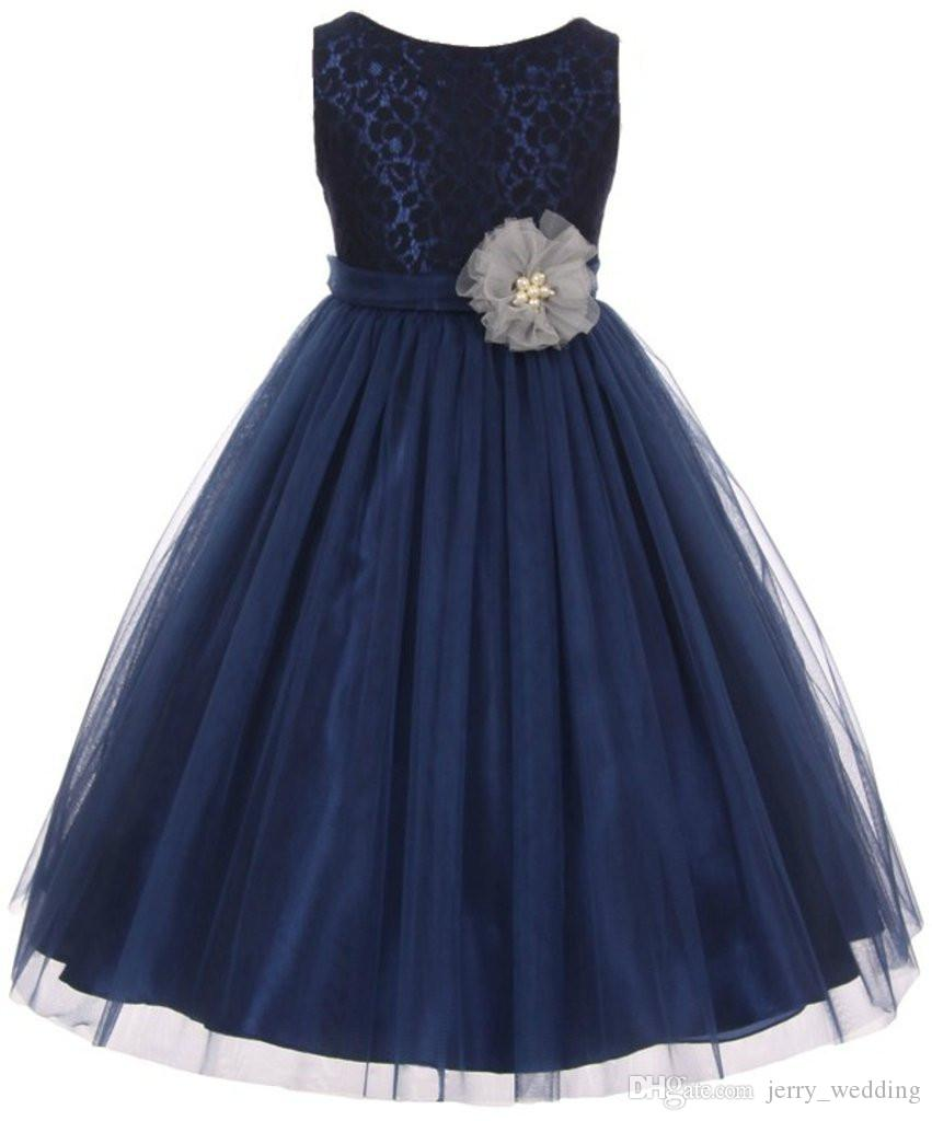 Wedding Party Dresses for Girls 2020 Hot Sale A-line Scoop Lace Tulle Tea Length Flower Girl Dresses for Wedding