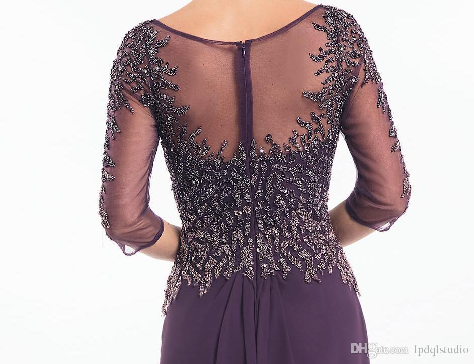 Pluune scintillante Mère des robes de mariée Illusion Sheer avec des paillettes de perles 3/4 manches longues plis de mousseline de soirée robe de soirée