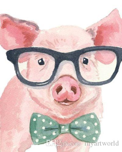 2018 framed cute pig with glasses animal pure hand painted cartoon