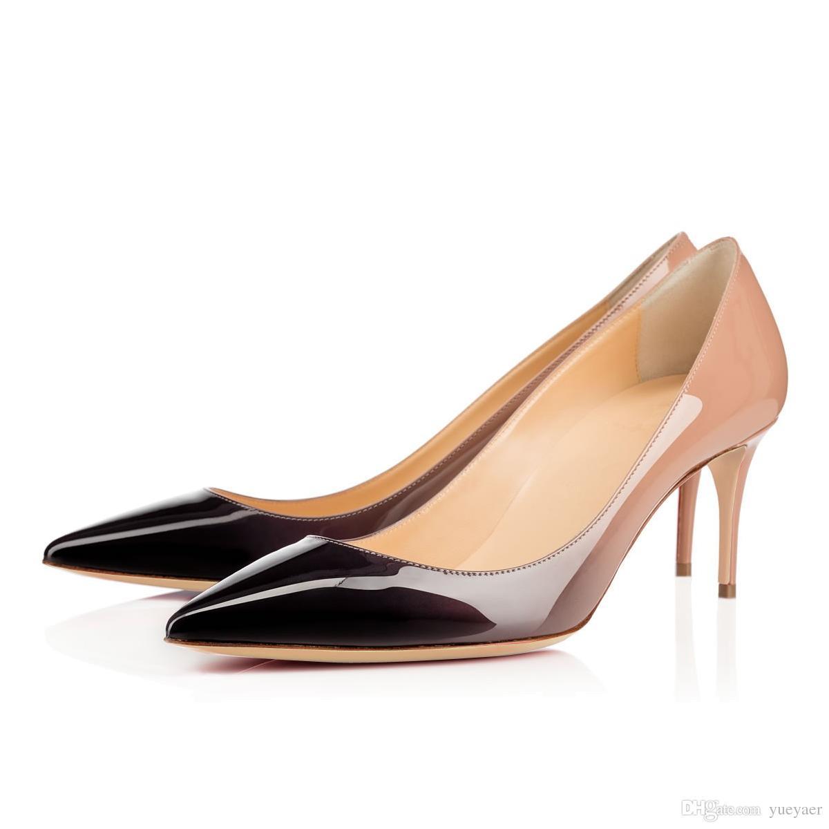 Karmran Kadınlar El Yapımı Moda Ayakkabı Kolete 85mm Sivri Toe Yüksek Topuk Temel Ofis Parti Pompaları Ayakkabı Degrade
