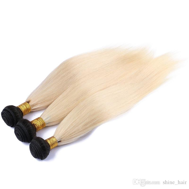 브라질 금발 Ombre 인간의 머리 3Bundles 폐쇄 # 1B / 613 금발 두 톤 Ombre 직물 직선 4 x 4 레이스 폐쇄와 직조