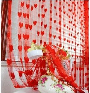 Dekorativ gardin 1 * 2 m / bit dörr fönster gardiner röd blå kräm bröllop