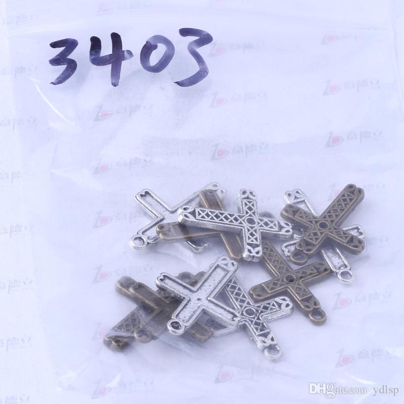 Ydlsp 29.2 * 20.3mm Croix Pendentif argent antique / alliage de bronze zinc Bracelets Fit Collier / 3403