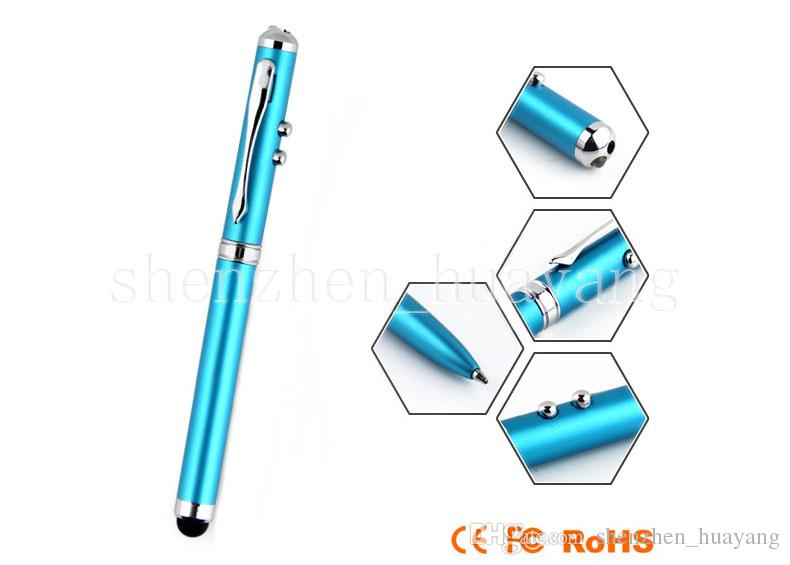 4 em 1 ponteiro laser LED Tocha Touch Screen Ball Pen Stylus para Universal smart phone transporte da gota Atacado