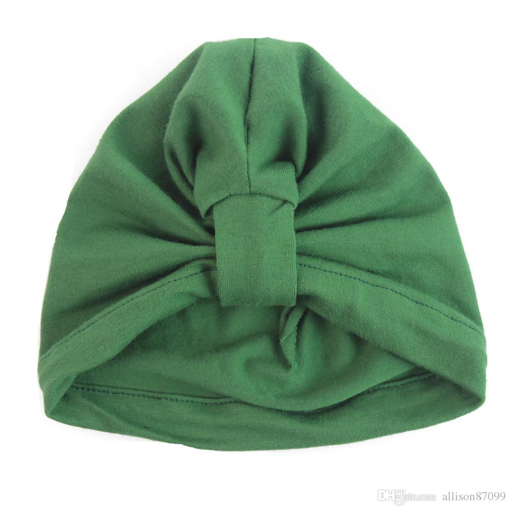 Newborn hat Baby hats Infants twist knot hats Pink purple green 100%cotton Solid European High quality 0-6months unisex best sell
