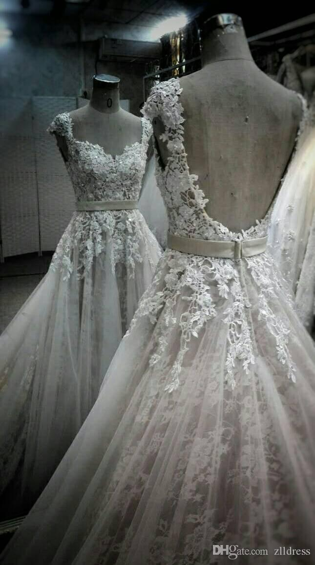 Victorian Wedding Dresses A-line Real Pictures Lace Backless Bridal Gowns Vintage Style Cap Sleeve Cathedral Train 2016 Vestido De Novia