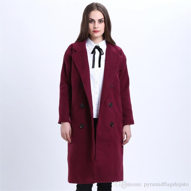 Frauen Wolle Blends Wintermantel Frauen Elegante Lange Mantel Woolen Jacke Lila Rot Wolle Trenchcoats Lose Winter Outwear Lange Woolen Jack