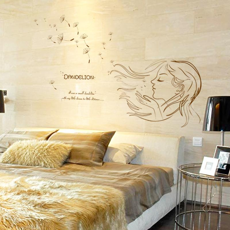New Dandelion Girl Wall Stickers Diy Removable Wall Decal Mural For Girls  Simple And Elegant Wallpaper Home Decoration Graffiti Wall Stickers Graphic  Wall ...