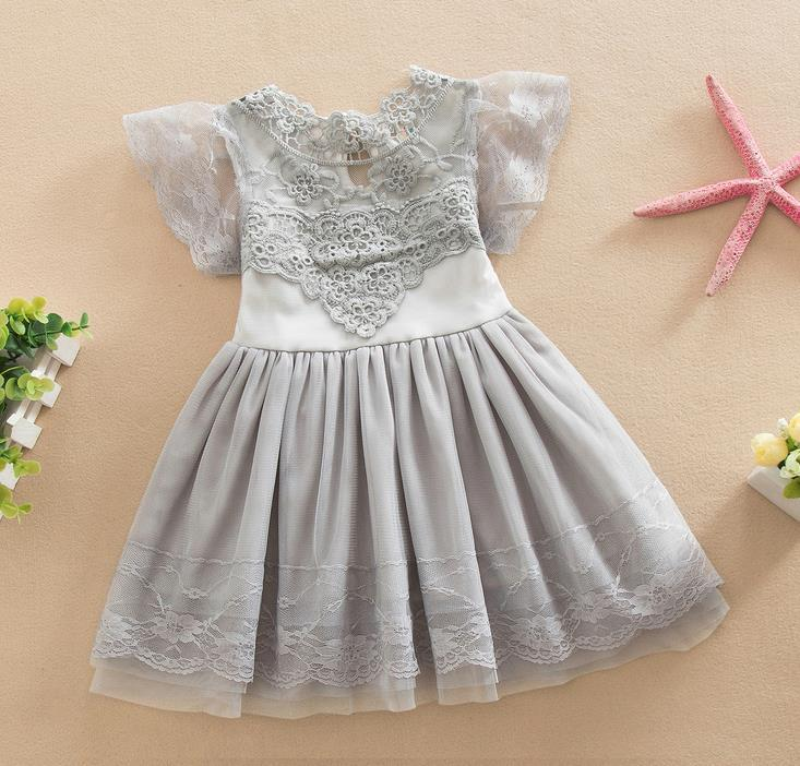 Summer Kids Dresses For Girls Toddler Girl Dress Cotton Lace Girls Dresses Kids Clothes Grey Baby Dress Princess Party Lace Dresses 11444