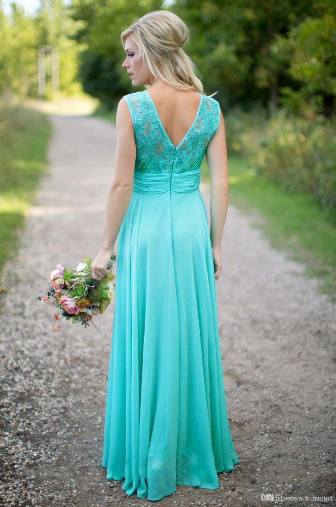 Turquesa Vestidos de dama de honor de encaje Vestido de baile largo de chifón de encaje Vestidos de dama de honor de la playa Vestidos de dama de honor ruchada para bodas