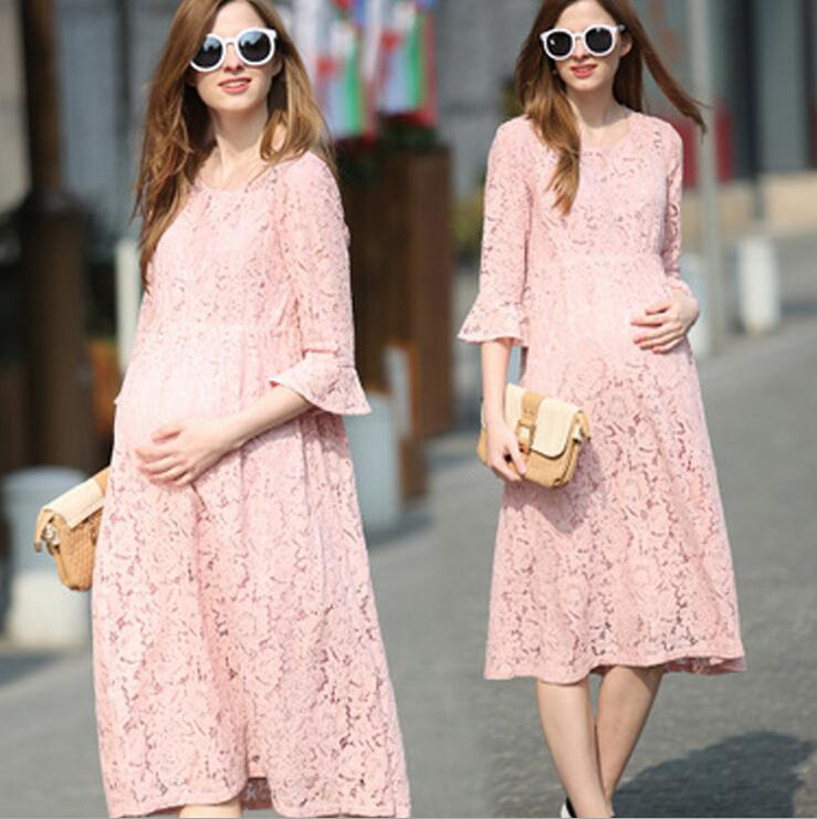 76b89113a7e 2019 Half Sleeve Lace Pregnancy Dresses Maternity Clothes Pregnant Women  Loose Summer Casual Dress Tunic Clothing Vestidos Ropa Embarazada From  Gengduo