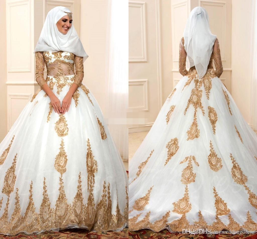 Discount 2017 white and gold muslim wedding dresses tulle for Cheap muslim wedding dresses