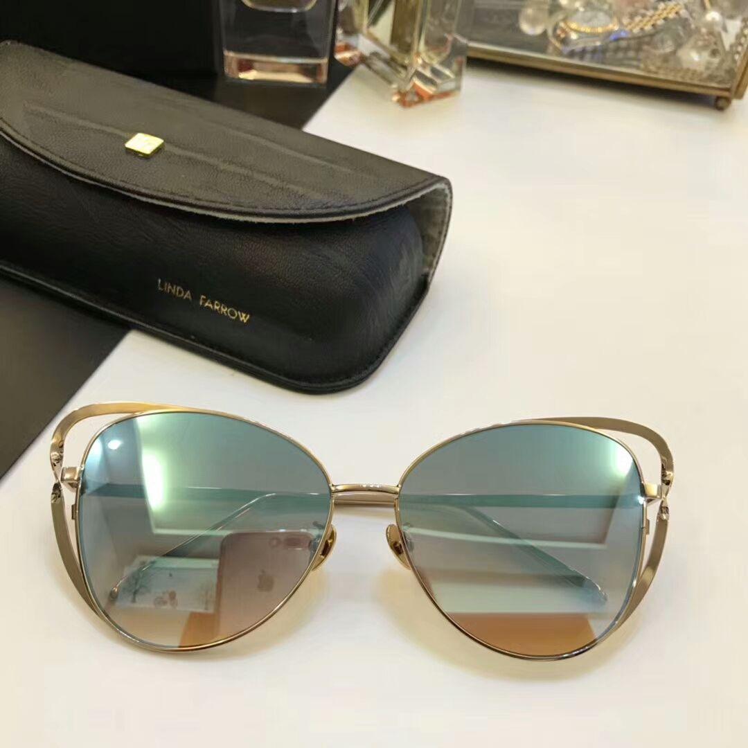 a1c9ee09f3e2 Linda Farrow Luxe LFL 661 Cat Eye Sunglasses Gold Metal  Blue Mirror 58mm  Women Designer Brand Sunglasses New Wit Box Prescription Glasses Online  Round ...