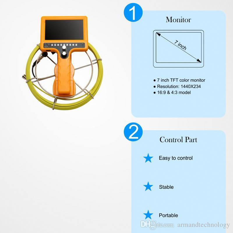 Caméra de vidange étanche pour outil de contrôle de tuyau Boroscope industriel 710DN-SCJ avec boîtier ABS de fonction DVR